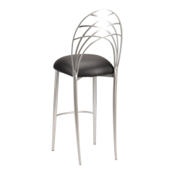Silver Piazza Barstool with Black Leatherette Cushion