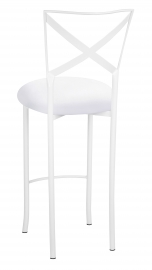 Simply X White Barstool with White Suede Cushion