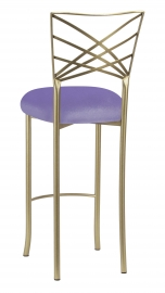 Gold Fanfare Barstool with Lavender Velvet Cushion