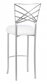 Silver Fanfare Barstool with White Suede Cushion