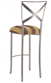 Simply X Barstool with Gold and Brown Stripe Cushion