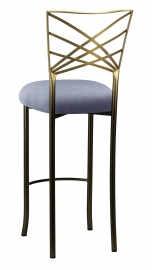 Two Tone Fanfare Barstool with Steel Velvet Cushion