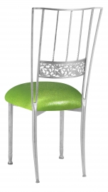 Silver Bella Fleur with Metallic Lime Knit Cushion