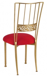 Gold Bella Fleur with Red Stretch Knit Cushion