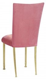 Raspberry Suede Chair Cover and Cushion on Gold Legs