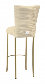 Chloe Ivory Stretch Knit Barstool Cover with Rhinestone Accent Band and Cushion on Gold Legs