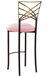 Two tone Gold Fanfare Barstool with Soft Pink Velvet Cushion