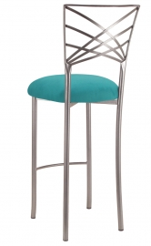 Silver Fanfare Barstool with Turquoise Suede Cushion