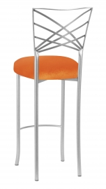 Silver Fanfare Barstool with Orange Velvet Cushion