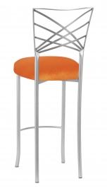 Silver Fanfare Barstool with Orange Velvet Cushion