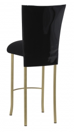 Black Patent Barstool Cover with Black Velvet Cushion on Gold Legs