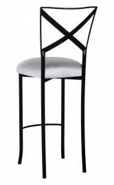 Blak. Barstool with Silver Stretch Knit Cushion