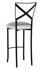Blak. Barstool with Silver Stretch Knit Cushion