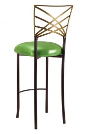 Two Tone Gold Fanfare Barstool with Metallic Lime Cushion