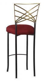 Two Tone Fanfare Gold Barstool with Burnt Red Dupioni Boxed Cushion