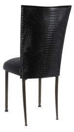Black Croc Chair Cover with Black Leatherette Boxed Cushion on Mahogany Legs