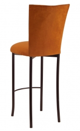 Copper Suede Barstool Cover and Cushion on Brown Legs