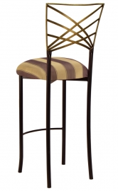 Two Tone Gold Fanfare Barstool with Gold and Brown Stripe Cushions