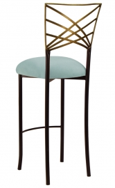 Two Tone Gold Fanfare Barstool with Ice Blue Suede Cushion