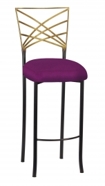 Two Tone Fanfare Barstool with Orchid Taffeta Boxed Cushion