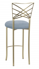 Gold Fanfare Barstool with Ice Blue Suede Cushion