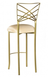 Gold Fanfare Barstool with Champagne Bengaline Cushion