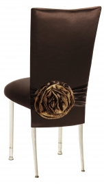 Brown Satin 3/4 Chair Cover with Rosette and Cushion on Ivory Legs