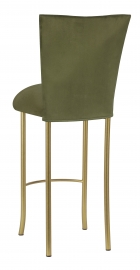 Sage Suede Barstool Cover and Cushion on Gold Legs