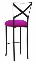 Blak. Barstool with Magenta Stretch Knit Cushion