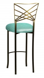 Two Tone Fanfare Barstool with Mermaid Knit Cushion