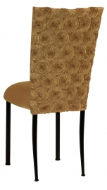 Gold Circle Ribbon Taffeta Chair Cover with Gold Velvet Cushion on Black Legs