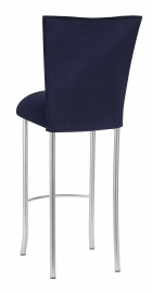 Navy Blue Suede Barstool Cover and Cushion on Silver Legs