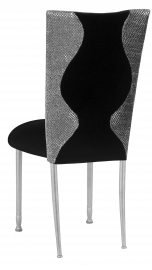 Hour Glass Sequin Chair Cover with Black Velvet on Silver Legs