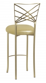 Gold Fanfare Barstool with Metallic Gold Knit Cushion