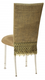 Burlap Fancy 3/4 Chair Cover with Camel Suede Cushion on Ivory Legs