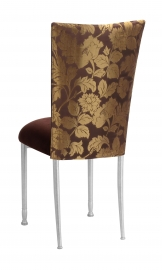 Gold and Brown Damask Chair Cover with Chocolate Suede Cushion with Silver Legs