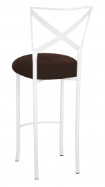 Simply X White Barstool with Chocolate Suede Cushion