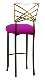 Two Tone Gold Fanfare Barstool with Magenta Stretch Knit Cushion