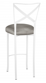 Simply X White Barstool with Charcoal Taffeta Boxed Cushion
