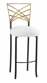 Two Tone Fanfare Barstool with White Lace over White Knit Cushion