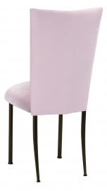 Soft Pink Velvet Chair Cover and Cushion on Brown Legs