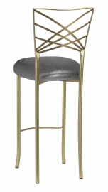 Gold Fanfare Barstool with Gunmetal Stretch Knit Cushion