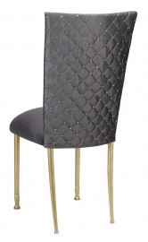 Charcoal Diamond Tufted Taffeta Chair Cover with Charcoal Suede Cushion on Gold Legs