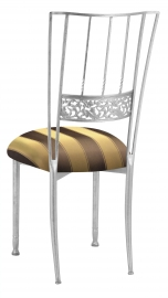 Silver Bella Fleur with Brown & Gold Striped Cushion