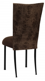 Durango Chocolate Leatherette with Chocolate Suede Cushion on Black Legs