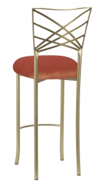 Gold Fanfare Barstool with Paprika Velvet Cushion