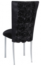 Black Rosette Chair Cover with Black Velvet Cushion on Silver Legs