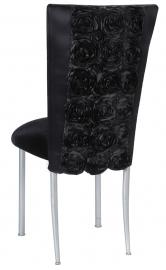 Black Rosette Chair Cover with Black Velvet Cushion on Silver Legs