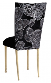 Black Swirl Velvet Chair Cover with Black Velvet Cushion on Gold Legs