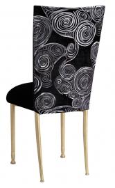 Black Swirl Velvet Chair Cover with Black Velvet Cushion on Gold Legs